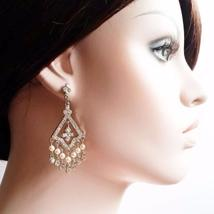 Statement Chandelier Diamond Earrings - Bridal Jewelry - $71.00