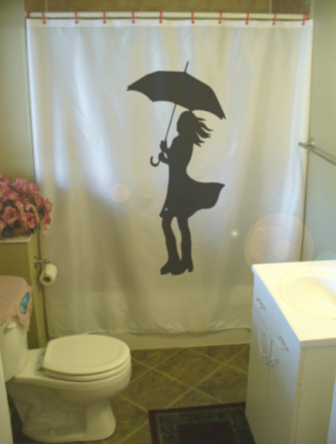 Printed Shower Curtain lady with umbrella wind hair skirt dress weather