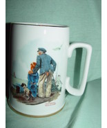 1985 Norman Rockwell's Looking Out To Sea Cup With Gold Trim - $10.00