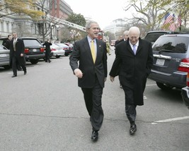 President George W. Bush and Vice-President Dick Cheney walking Photo Print - $7.05+