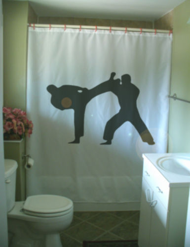 Printed Shower Curtain martial art spar kick block men fight partner dojo