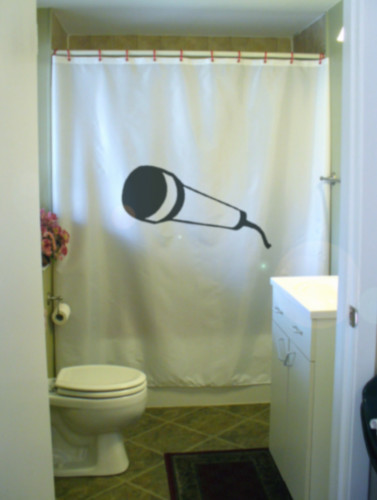 Printed Shower Curtain microphone mike cord music sing shower karaoke