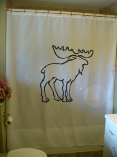 Printed Shower Curtain moose elk palmate antler Canada north Canadian