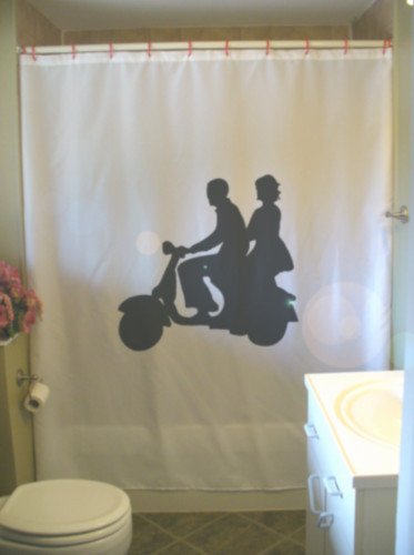 Printed Shower Curtain moped couple date young love man woman ride