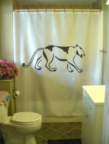 Printed Shower Curtain mountain lion petroglyph cave art rock animal ancient