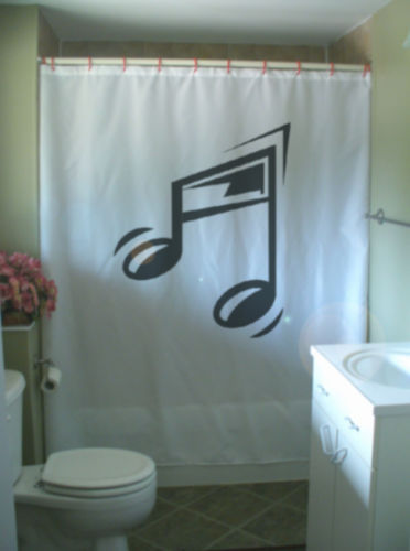 Printed Shower Curtain music notes musical sound pitch beam bar sign musician
