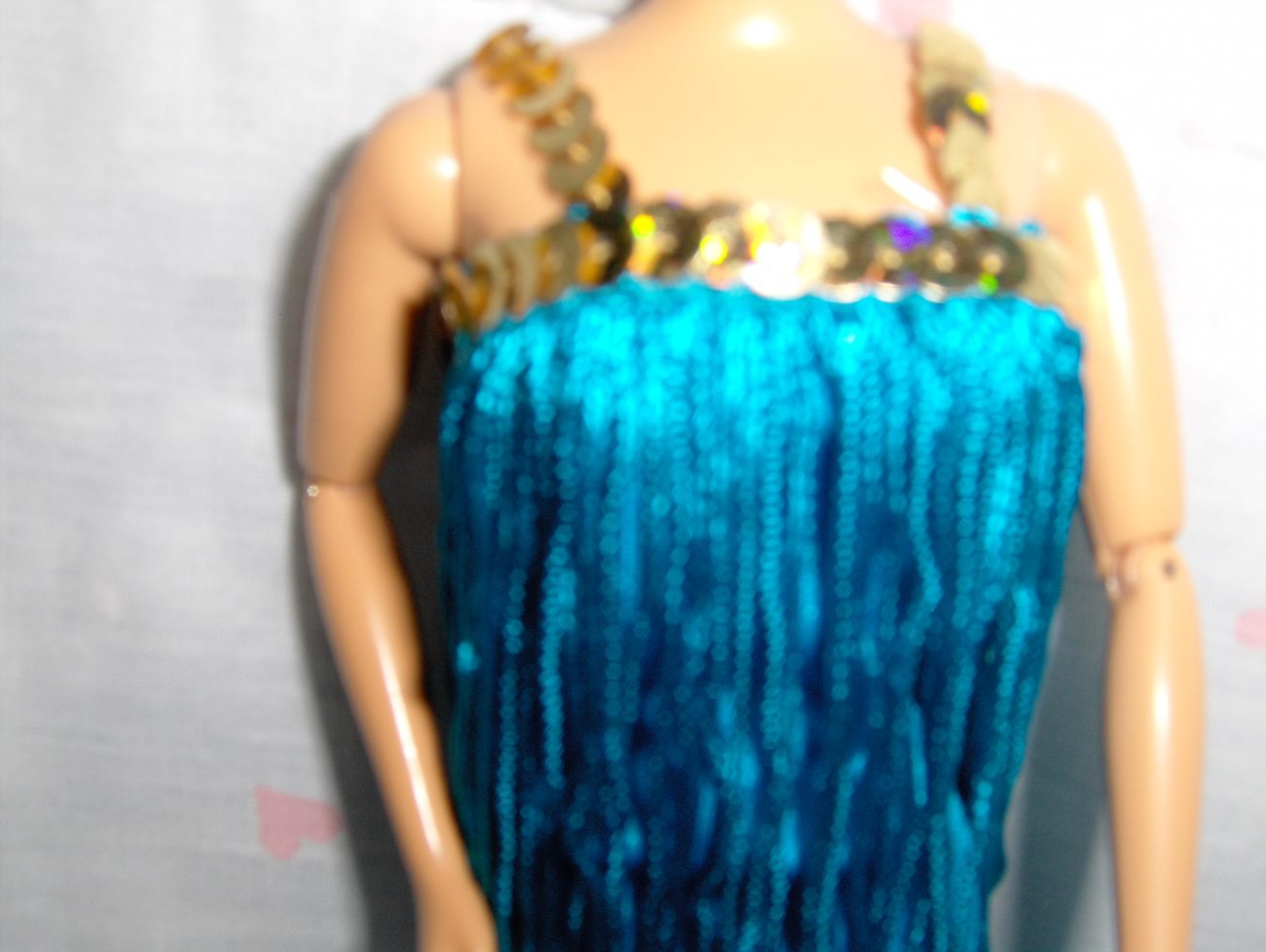 2 pcTurquoise Blue Fringe Flapper Dress with Gold Sequined Trim fits Barbie and