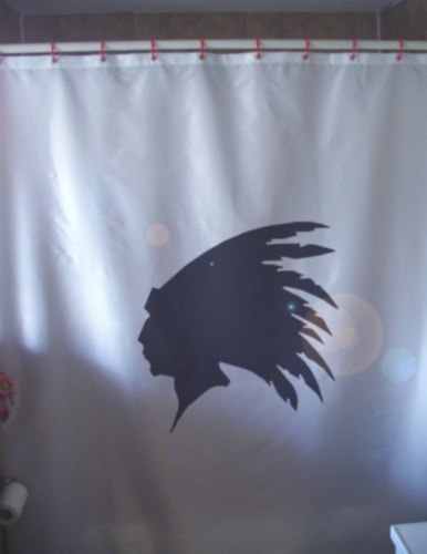 Shower Curtain native indian head feather profile chief