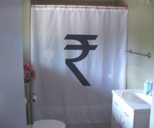 Shower Curtain new Indian Rupee symbol India money sign