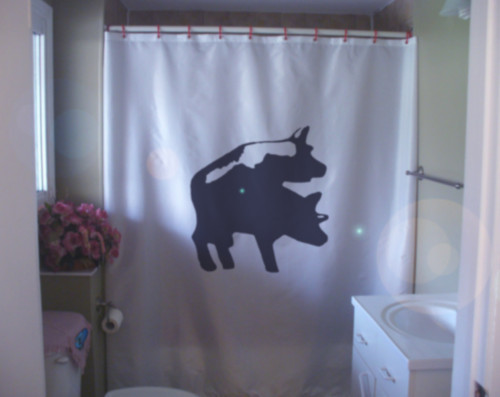 Shower Curtain pig copulation swine boar sow sex adult
