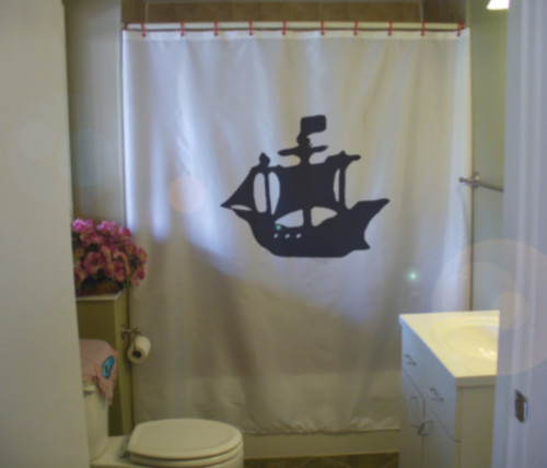 Shower Curtain pirate ship set sail galley flag galleon