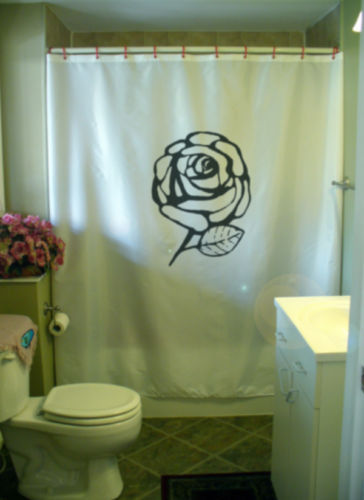 Printed Shower Curtain rose solitaire by any other name single Valentine love