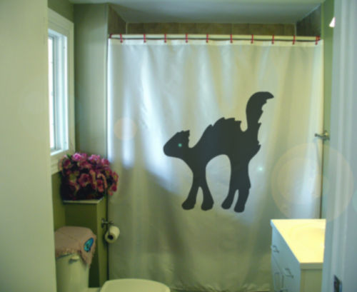 Shower Curtain scaredy cat arched back feline scare