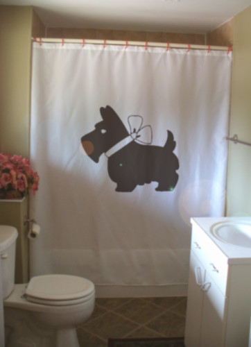 Shower Curtain scottie dog bow Scottish terrier breed