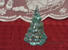 "FENTON ART GLASS 2006 AQUAMARINE IRIDESCENT 3"" CHRISTMAS TREE - $50.00"