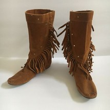 Vintage Minnetonka Moccasin Brown Suede Mid Calf Fringe Boots Women's Si... - $49.49