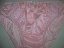 Vtg Style Bikini Panty Brief S12 Adult Women Men Handmade Silky Pink Nylon W Lac - $18.99