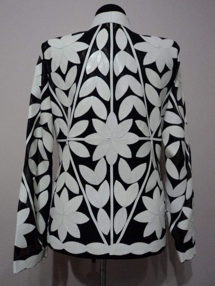 White Leather Leaf Jacket Women All Colours Sizes Genuine Lambskin Zip Short D3