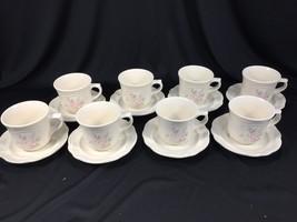 (8) Pfaltzgraff Tea Rose Pattern Coffee Mugs Cups & Saucers - $39.99