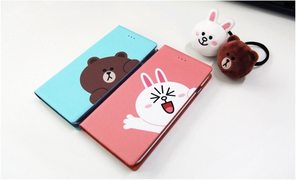 LINE Friends Diary / Badge Lighting Case iPhone 7/7 Plus Mobile Skin Cover Acc