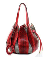 Chic Fiore Red Leather Petal Drawstring Bucket Bag In 3 Colors - EXTRA 1... - $49.90