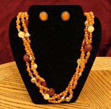 Spice Colored Torsade Beads Necklace & Stud Earrings Gift Set - Nickel Free NEW - $29.65