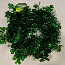 """Green Tinsel Garland with 2"""" Shamrock Figures  Garland is 2"""" wide X 9' l... - $6.50"""