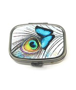 Value Arts Pill Box - Butterfly and Peacock Feather - 2.25 Inches Wide - $15.18