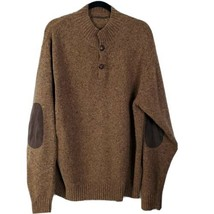 Peter Millar Raglan Tan Wool Button Up Sweater Suede Elbow Patches XXL $... - $89.07
