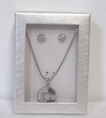 BVT Necklace Earring Set Silver Color Clear Colored Stones Circular Design