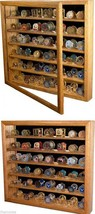 DELUXE CHALLENGE COIN COLLECTOR WALL HANGING SOLID OAK WOOD DISPLAY CASE - $315.87