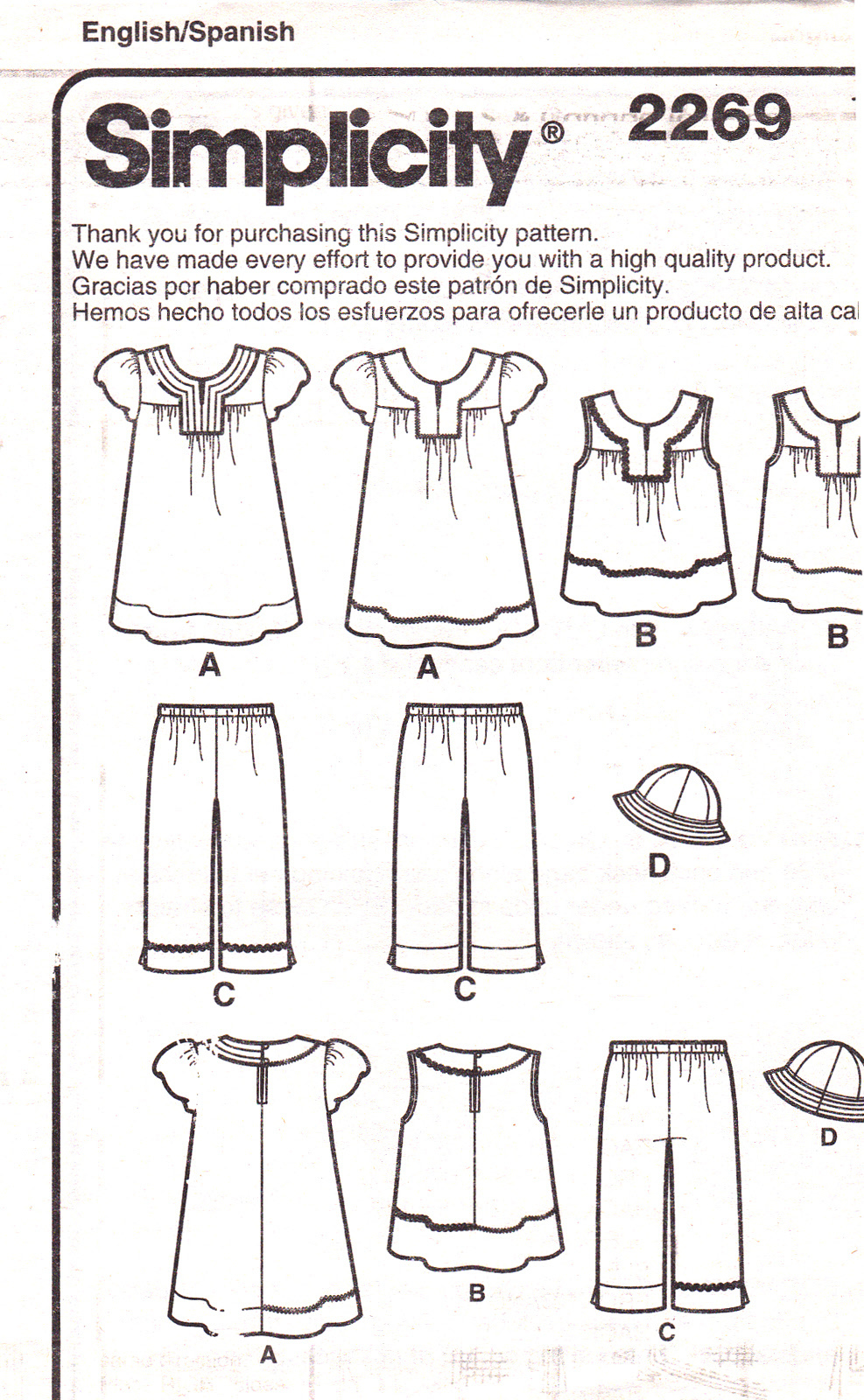 Simplicity 2269 Girls Dress Top Pants Hat Childrens Sewing Pattern Kids Size 3-8