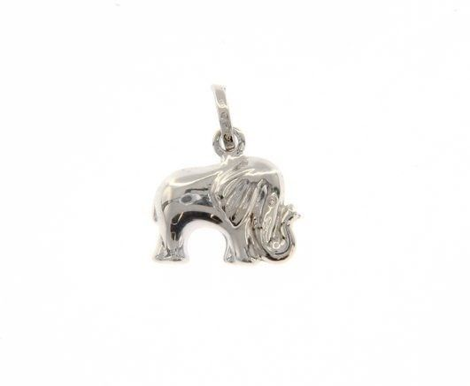 18K WHITE GOLD ROUNDED ELEPHANT PENDANT CHARM 17 MM SMOOTH BRIGHT MADE IN ITALY
