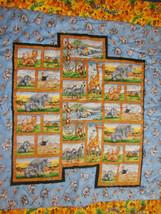 """Jungle Animals Crib Quilt Handmade Go Banannas 42"""" x 45"""" Elephant Lion Z... - $19.34"""