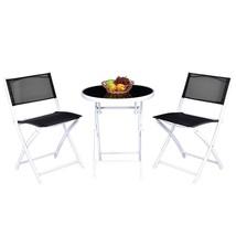 Folding Bistro Table Chairs Set Garden Backyard Patio Furniture Black Ne... - $81.68