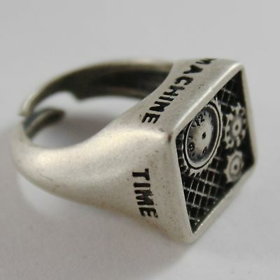 Silver Ring 925 Burnished Finish with Gears of Machine Time Machine Time