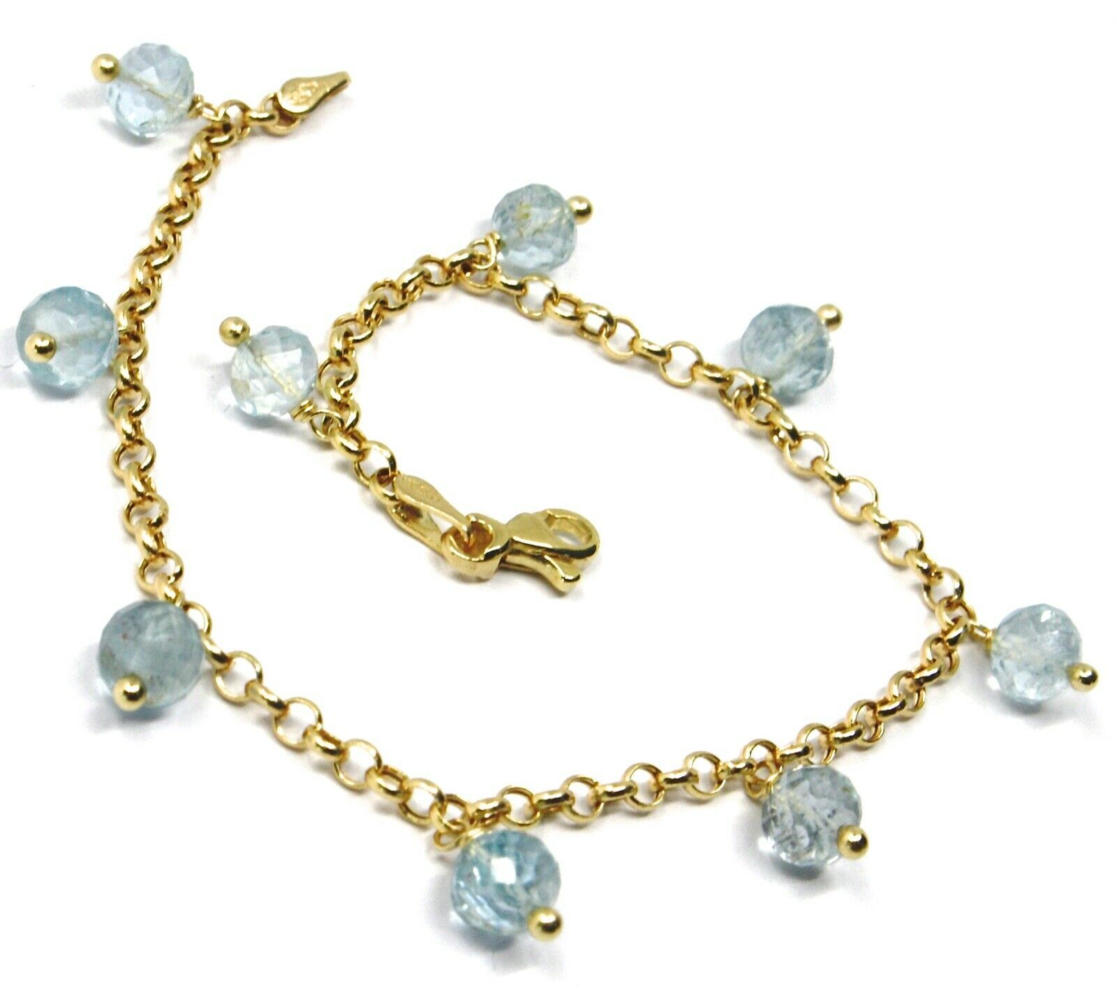 18K YELLOW GOLD BRACELET, OVAL FACETED AQUAMARINE PENDANT, ROLO LINKS 2.5mm