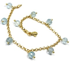 18K YELLOW GOLD BRACELET, OVAL FACETED AQUAMARINE PENDANT, ROLO LINKS 2.5mm image 1