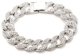 Xusamss Hip Hop Titanium Steel Crystal Chain Bangle Link Bracelet,8.0inches - $35.41