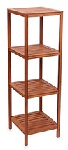 Household Essentials 4-Shelf Bamboo Cube Tower in Natural Brown Room Sto... - $124.72