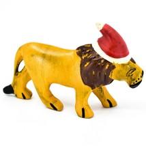 Hand Carved & Painted Jacaranda Wood Santa Hat Lion Safari Christmas Figurine
