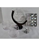 Whiskey Liquor Decanter Globe set + 2 Fine Spirit Etched Glasses w 8 Ste... - $69.30