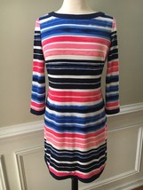 Vince Camuto Dress Woman's Blue Pink Black Striped Knit Shift Dress Size 8 - $27.82