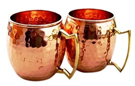 NEW 2 Hammered Copper Moscow Mule Mugs Handmade 100 Pure Copper Brass Ha... - $29.20