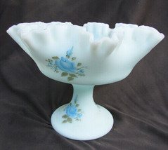 Fenton blue satin glass compote bowl ruffled edge hand blue roses painted signed - $24.50