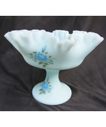 Fenton blue satin glass compote bowl ruffled edge hand blue roses painte... - $24.50