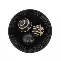 Decorative Balls Set, Decorative Ball And Bowl Ball Decor Set Of 3 - Mdf Wood - $26.99