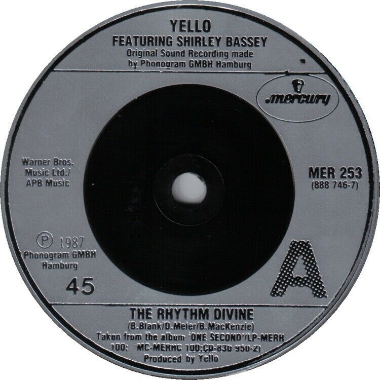 "Yello /Shirley Bassey ‎– The Rhythm Divine 7"" Vinyl 45rpm Vinyl Record"