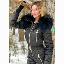 Womens Ski Suit Windproof Jumpsuit Hooded Playsuit Winter One Piece Snowsuit Glo image 5