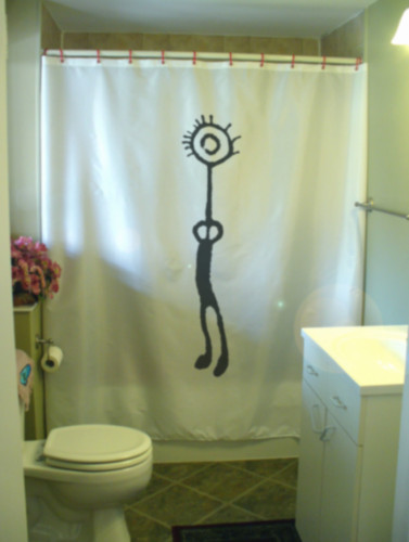 Printed Shower Curtain shaman figure petroglyph rock cave art magic power